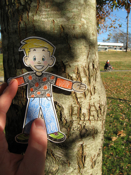 He tried to run away, so I had to pin him to a tree :P
