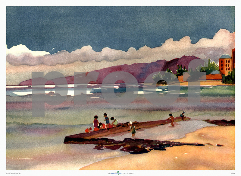 259: 'Children At Waikiki' Water Color By Dursty George. Ca 1937. (PROOF watermark will not appear on your print)