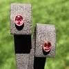 .79ctw Oval Padparadscha Sapphire Bezel Stud Earrings 0
