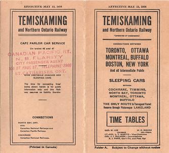 1934 May 13 Temiskaming and Northern Ontario timetable