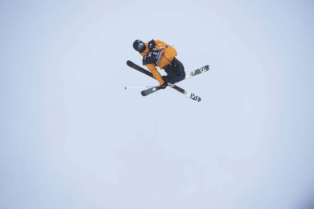 . Oscar Wester, SWE,  launches of the third jump during his first run of the U.S. Grand Prix slope style finals at the Copper Mountain ski area Saturday afternoon, December 21, 2013.  (Photo By Andy Cross / The Denver Post)