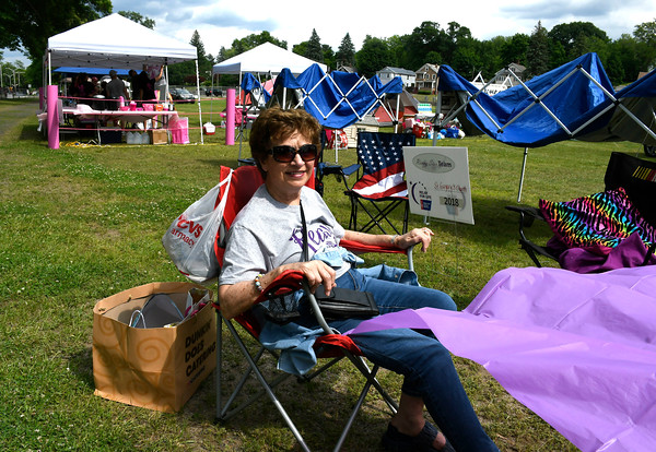 6/8/2018 Mike Orazzi | Staff Angela Stortz, while waiting for other member of the St. Gregory's Team during the Bristol Relay for Life held on Memorial Blvd. Friday.