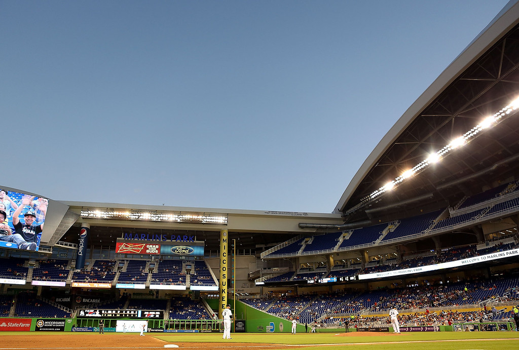 . An view of the open roof as pitcher Nathan Eovaldi #24 the Miami Marlins throws during the third inning against the Colorado Rockies at Marlins Park on April 1, 2014 in Miami, Florida.  (Photo by Marc Serota/Getty Images)