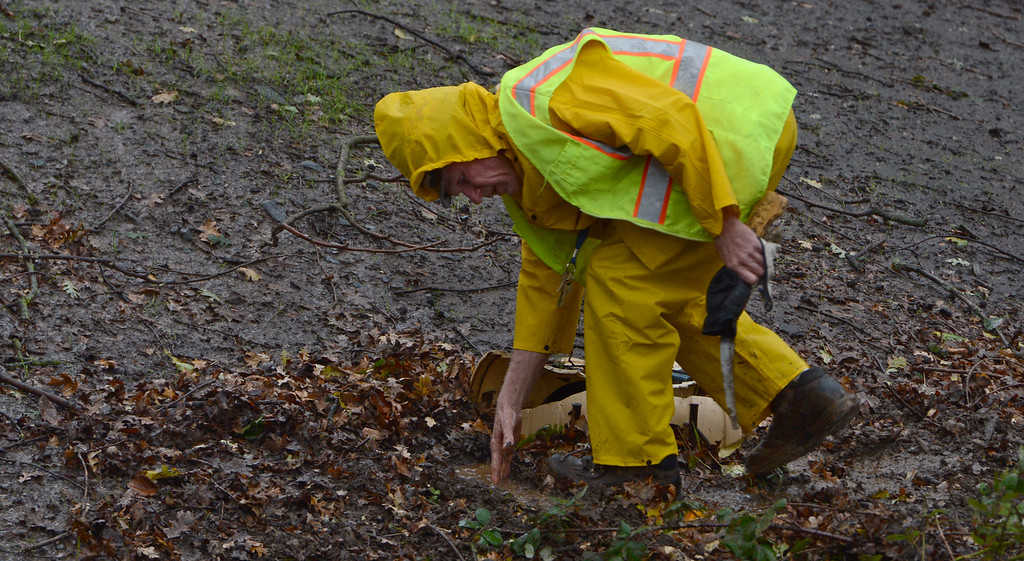 . Maintenance worker Dan Johnston removes leaves from a clogged drain in downtown Clayton, Calif., Thursday, Dec. 11, 2014. (Susan Tripp Pollard/Bay Area News Group)