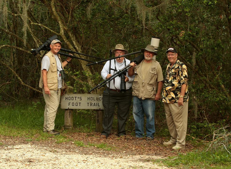 Shown, from left, are Wayne Wendel, Aubrey Cruse, Jim Kelly, and Ken Coleman at Brazos Bend State Park, May 27, 2009. The photo is blurry 'cause the photographer did not have one of those cool tripods pictured!
