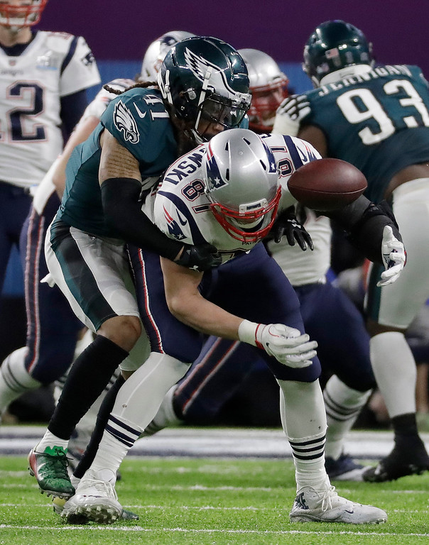 . Philadelphia Eagles\' Ronald Darby (41) breaks up a pass intended for New England Patriots\' Rob Gronkowski during the first half of the NFL Super Bowl 52 football game Sunday, Feb. 4, 2018, in Minneapolis. (AP Photo/Mark Humphrey)