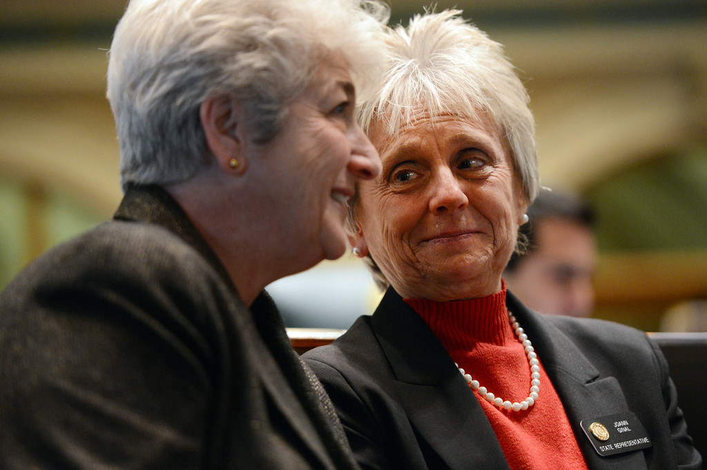 . (l-r) Rep. Lois Court  D-Denver talks Joann Ginal, D-Fort Collins, before a vote on civil union at the State Capital in Denver, CO March 12, 2013. (Photo By Craig F. Walker/The Denver Post)