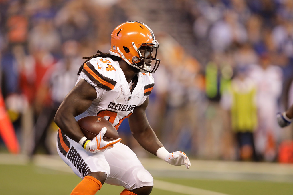 . Cleveland Browns running back Isaiah Crowell (34) during the first half of an NFL football game against the Indianapolis Colts in Indianapolis, Sunday, Sept. 24, 2017. (AP Photo/Darron Cummings)