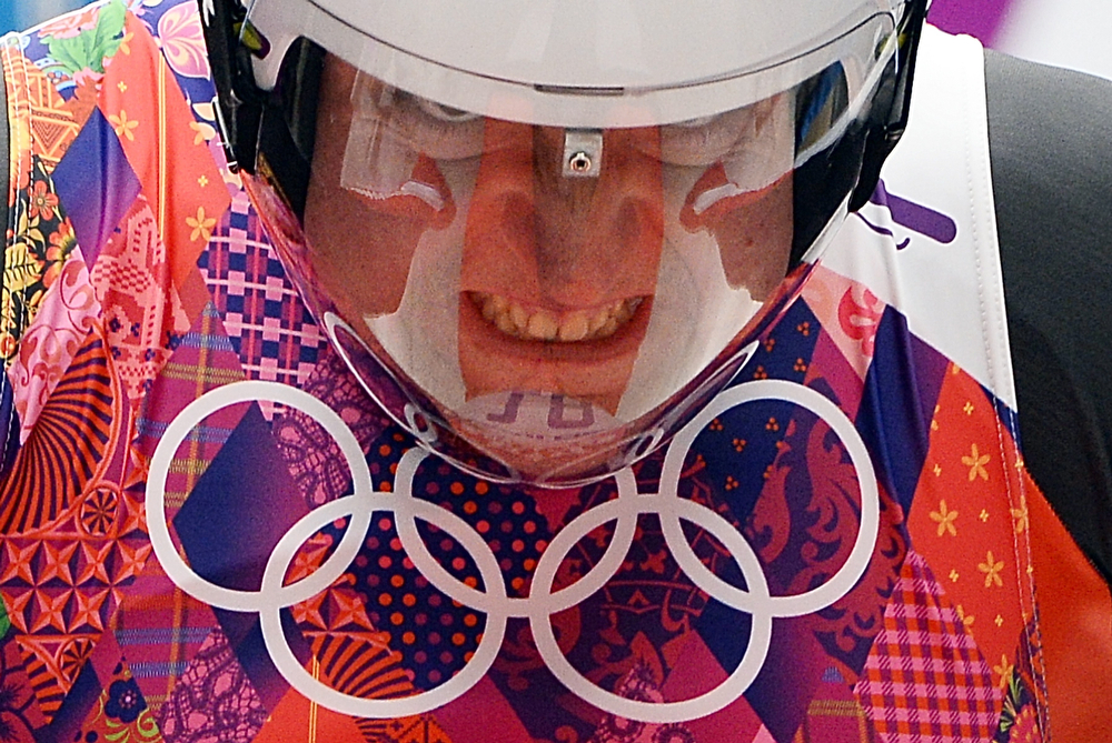 . Austria\'s Daniel Pfister prepares to compete during the Men\'s Luge Singles run two at the Sliding Center Sanki during the Sochi Winter Olympics on February 8, 2014.  (LIONEL BONAVENTURE/AFP/Getty Images)