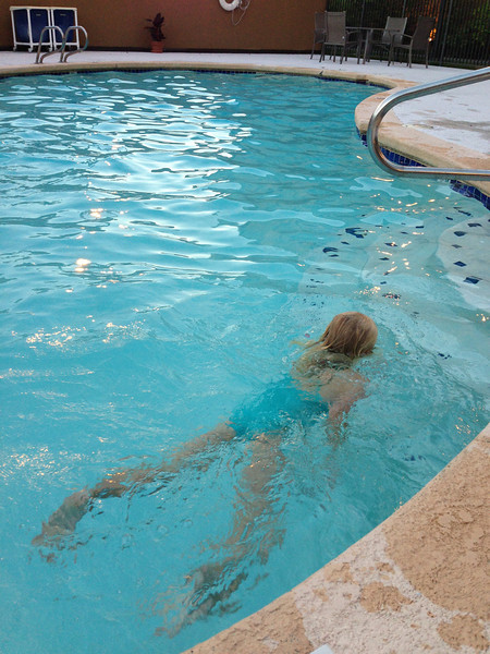 Amelia showing her swimming skills