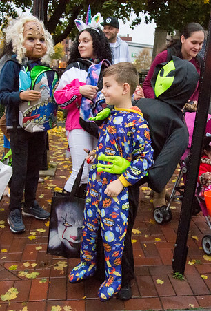 10/31/19 Wesley Bunnell | StaffrrMaximillian Metallidis dressed as an alien kidnapper during the New Britain Down District Halloween Safe Zone 2019.