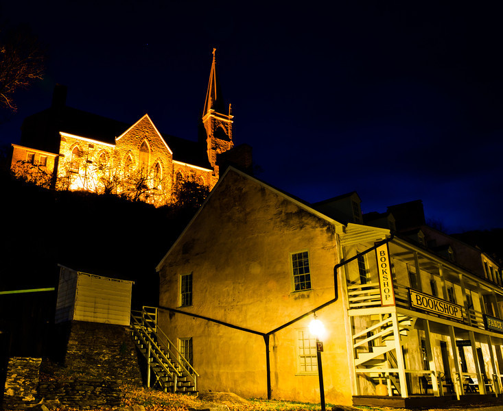 Shenandoah Street and St. Peters Church at Night, Harpers Ferry, WVA