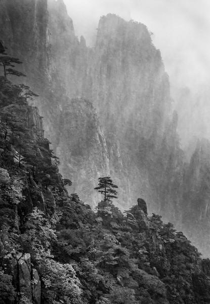 """Huangshan. Rain and Fog. 16""""x23""""."""