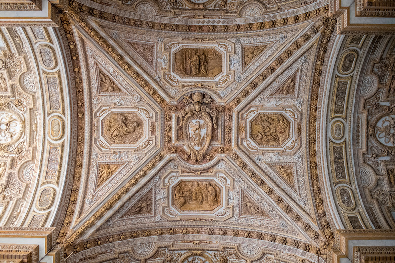 Ornate decoration in an outdoor passthrough, Vatican City, Italy