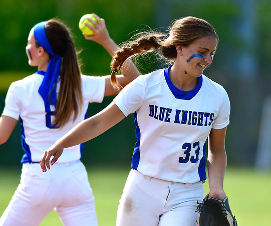 6/8/2019 Mike Orazzi | Staff Southington's Alex Rogers (8) and Gabriella VerderameMalachowski (33) during Saturday's Class LL Softball Final at DeLuca Field in Stratford.