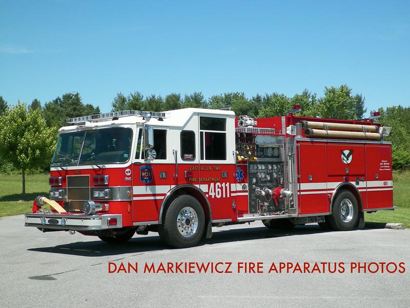 EAST ALLEN TOWNSHIP FIRE DEPT. ENGINE 4611 1998 PIERCE PUMPER