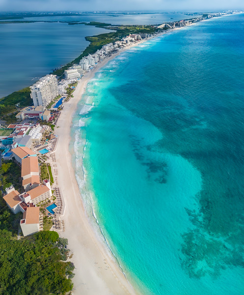 Cancun lagoon and beach