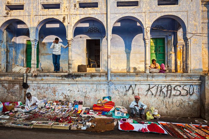 People in Pushkar street. Pushkar, Rajasthan, India