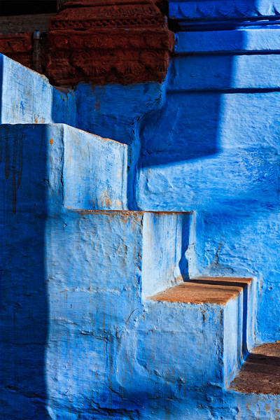 """Stairs of blue painted house in Jodhpur, also known as """"Blue City"""" due to the vivid blue-painted Brahmin houses around Mehrangarh Fort. Jodphur, Rajasthan"""