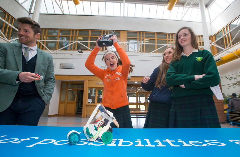 "02/03/2016. FREE TO USE IMAGE. Engineers Week at WIT (Waterford Institute of Technology). Pictured during ""Robot Wars"" is Emily Phelan (Center) from St. Marys Secondary School, New Ross, Co. Wexford. Picture: Patrick Browne"