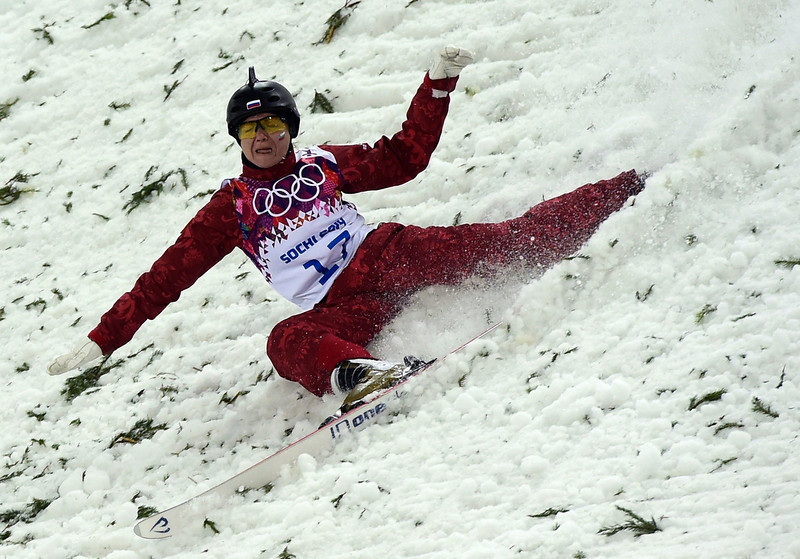 . Russia\'s Assoli Slivets competes in the Women\'s Freestyle Skiing Aerials finals at the Rosa Khutor Extreme Park during the Sochi Winter Olympics on February 14, 2014.       (JAVIER SORIANO/AFP/Getty Images)