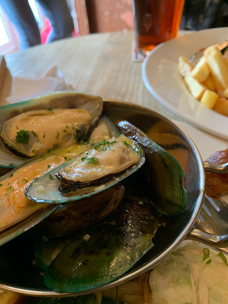 Green-lipped mussels.