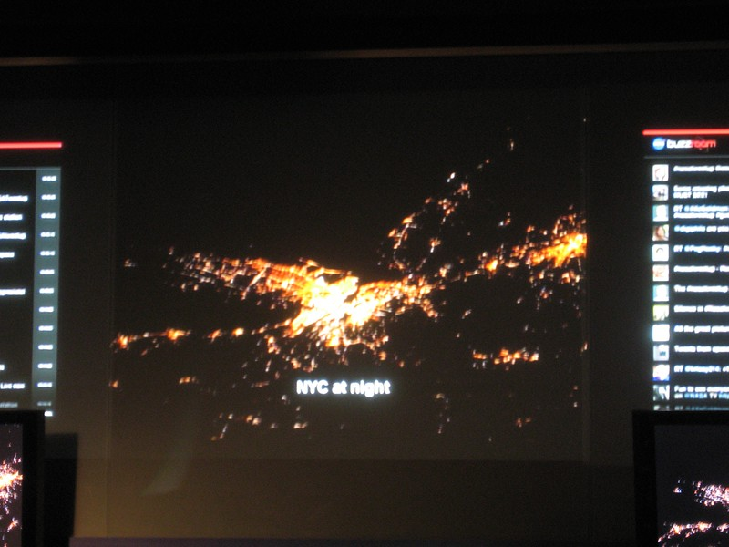 This frame of a 12-minute overview video of Expedition 25 shows a photo taken of New York City at night.  Five for Fighting's John Ondrasik donated the background music for the video, which included The Riddle (You and I), 100 Years, and World.