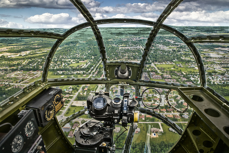 Nose view from North American B-25 Mitchell Bomber.