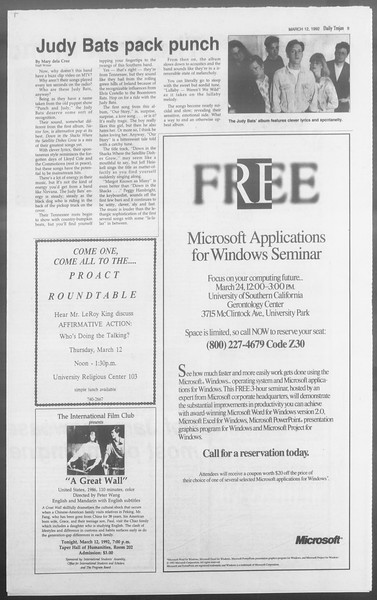 Daily Trojan, Vol. 117, No. 39, March 12, 1992