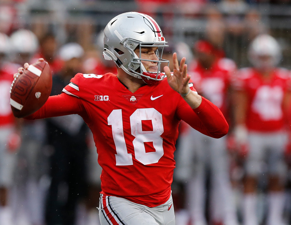 . Ohio State quarterback Tate Martell throws a pass against Rutgers during the second half of an NCAA college football game Saturday, Sept. 8, 2018, in Columbus, Ohio. Ohio State beat Rutgers 52-3. (AP Photo/Jay LaPrete)