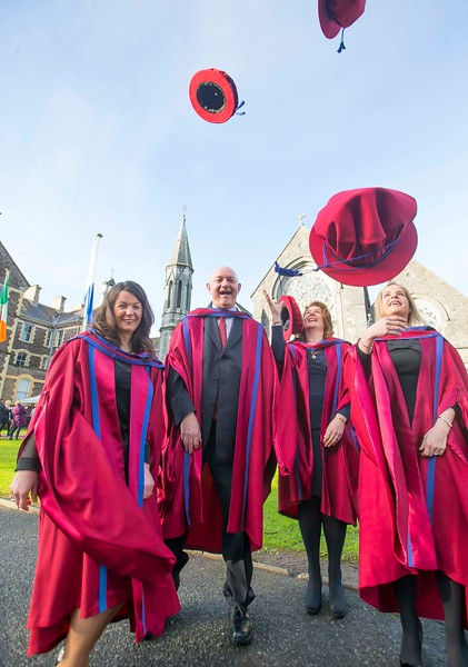 06/01/2015. FREE TO USE IMAGE. WIT (Waterford Institute of Technology) Conferring, Pictured are Angela Horgan-Goff, Waterford, Brother Ben Hanlon, De La Salle, Waterford, Claire O'Gorman, Cahir, Co. Tipperary and Annette Cullen-Murphy, Kilmeaden, Waterford who were conferred a Doctor of Philosophy. Picture: Patrick Browne