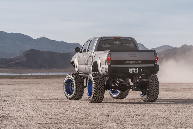 @T_harper96 @Vengeance_tacoma 2005-15 Toyota Tacoma featuring our New 2019 Concave 24x14 Lollipop Blue #GENESIS wrapped in 40x1550x24 @NittoTire-53.jpg