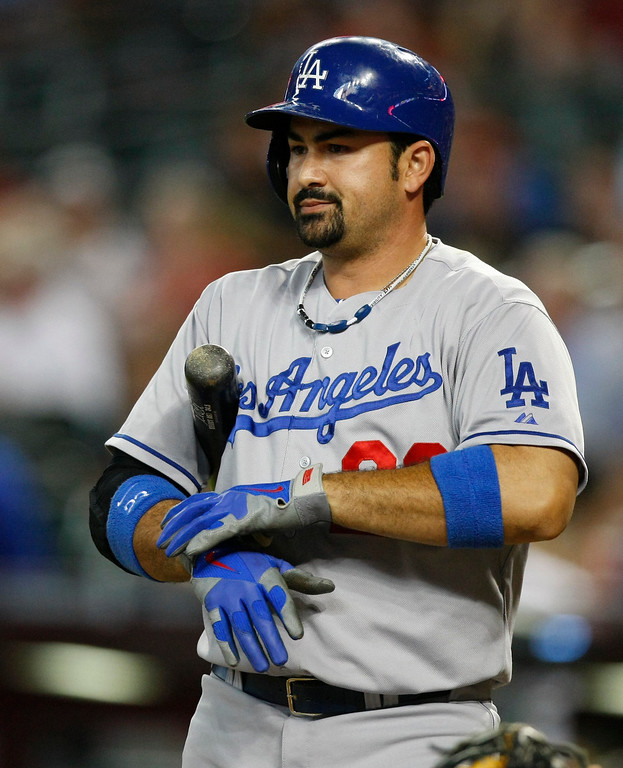 . Los Angeles Dodgers Adrian Gonzalez (23) in the first inning during a baseball game against the Arizona Diamondbacks on Monday, July 8, 2013, in Phoenix. (AP Photo/Rick Scuteri)