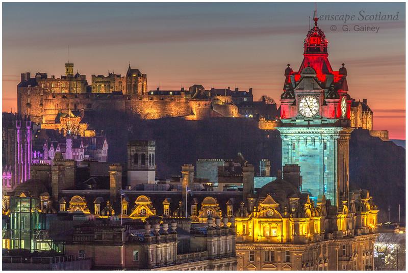 Edinburgh Castle and central Edinburgh from Calton Hill at dusk (08)
