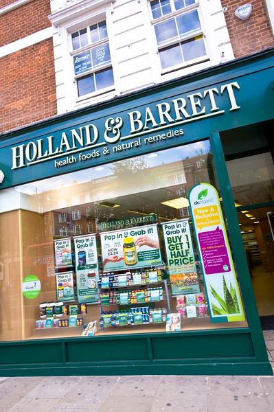 Holland and Barrett health food shop, London, United Kingdom