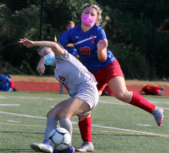 Lowell vs Tewksbury girls soccer. Lowell's Ashley Boissonneault (19) and Tewksbury's Alexandra Fowler (10). (SUN/Julia Malakie)
