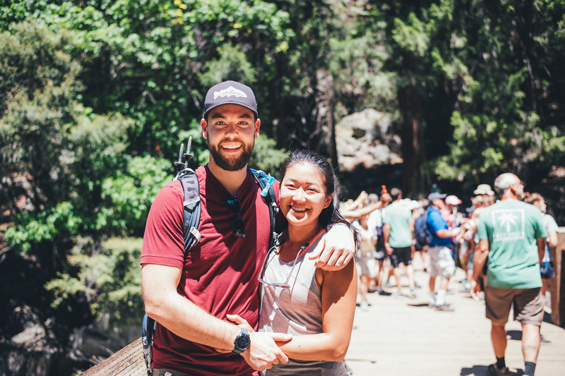 After tons of traffic, fiasco's trying to find parking, and massive crowds, we finally got to the Vernal Falls bridge!  Michelle and Matt let me take a photo!