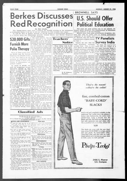 Summer News, Vol. 11, No. 16, August 27, 1956