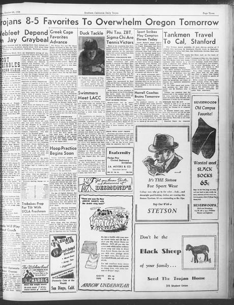Daily Trojan, Vol. 30, No. 30, October 28, 1938