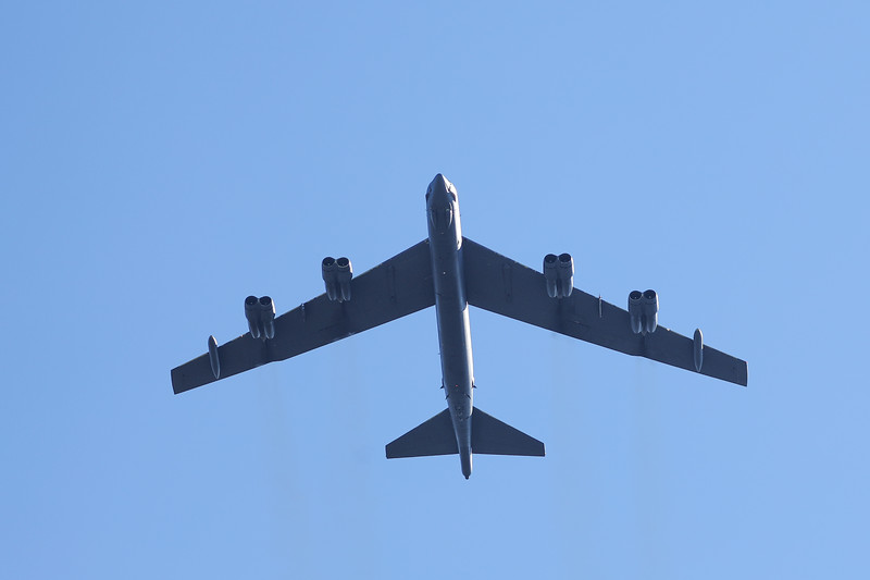 A US Air Force B-52 bomber performs a fly-over before the game.