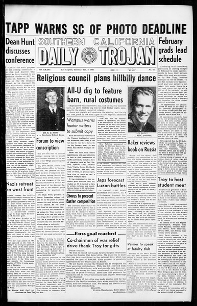 Daily Trojan, Vol. 36, No. 42, January 09, 1945