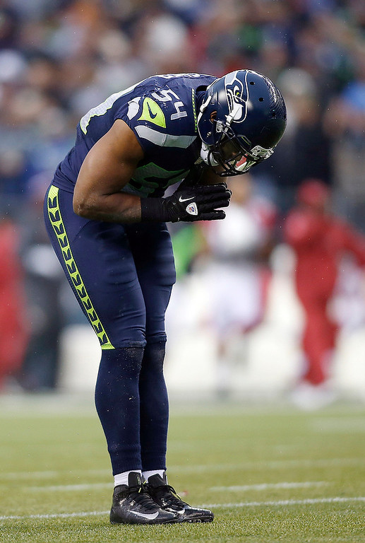 . Seattle Seahawks middle linebacker Bobby Wagner (54) bows against the Arizona Cardinals during the second half of an NFL football game in Seattle, Sunday, Dec. 9, 2012. The Seahawks won 58-0. (AP Photo/John Froschauer)