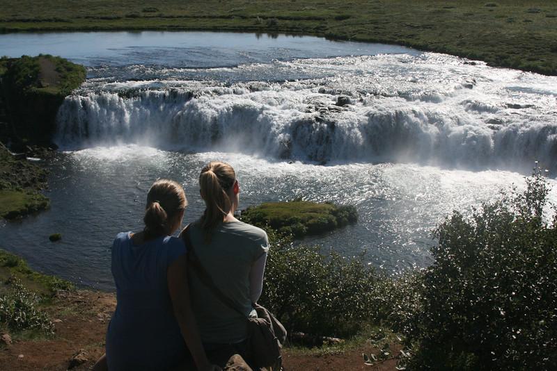 Kjirsten & Aunika admire Faxi waterfall.