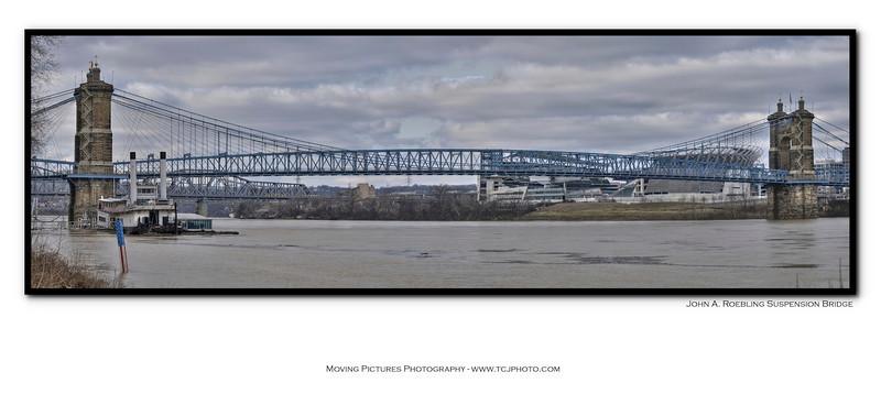Cincinnati -  Notable Landmarks - panorama of Roebling Suspension Bridge - inside of card