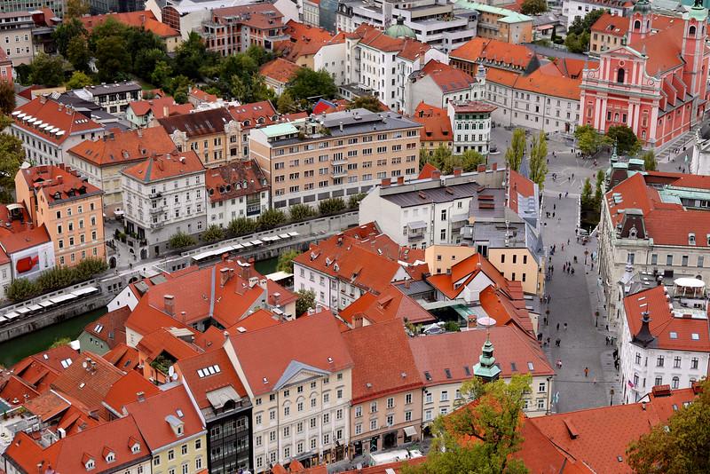 Overlooking Prešernov Trg (Prešernov Square) and the Ljubljana River from Ljubljana Castle