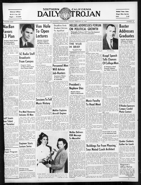 Daily Trojan, Vol. 31, No. 92, February 27, 1940