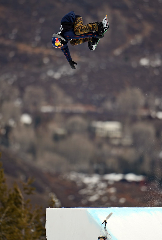 . ASEN, CO. - JANUARY 26:  Mark McMorris catches big air during the Men\'s Snowboard Slopestyle Final, January 26, 2013, at the 2013 Winter X Games at Buttermilk Mountain in Aspen. McMorris won gold in the event. (Photo By RJ Sangosti / The Denver Post)