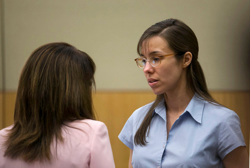 . Jodi Arias, right, talks to her attorney, Jennifer Wilmott during her trial at Maricopa County Superior Court in Phoenix   on Wednesday, April 10, 2013.  Arias is on trial for the killing  Travis Alexander, in 2008.   (AP Photo/The Arizona Republic, David Wallace, Pool)