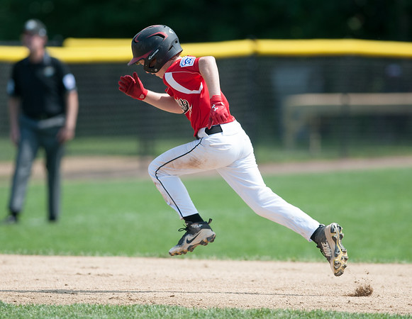 08/06/18 Wesley Bunnell   Staff Rhode Island defeated Vermont 10-0 in a 2018 East Regional Little League game in Bristol on Monday afternoon. Rhode Island's Tyler Simon (1) advances to third base safely.