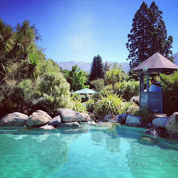We spent our early afternoon percolating in the hot mineral waters of Hanmer Springs #newzealand
